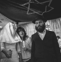 Hasidic Jews under the Chuppah