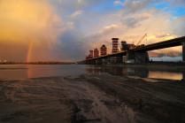 Строительство Третьего моста через реку Обь. Новосибирск. Октябрь.