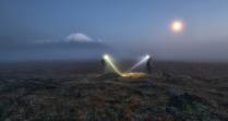 Луна, Толбачик и туман.