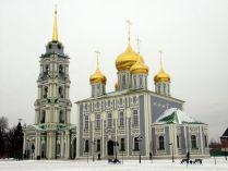 Успенский храм Тульского  кремля  с восстановленной колокольней