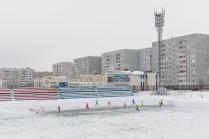 Football on a winter football ground