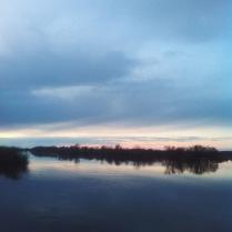 Зеркальное отражение весеннего разлива