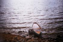 В воде.