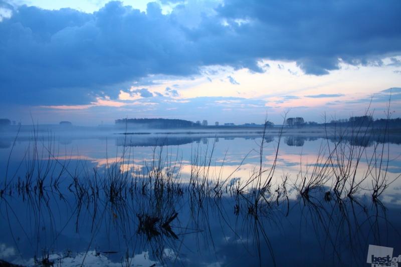сельский пруд в отблесках заходящего солнца