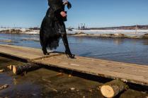 Временный мост через реку Иртыш