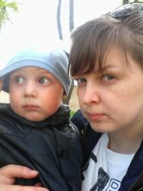 С любимым сыном на прогулке