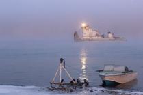 Туманное утро на реке Лена