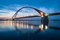 Бугринский мост через реку Обь. Ночной вид.