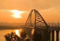 Бугринский мост через реку Обь. Рассвет.