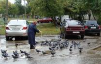 Голуби - ее птицы счастья.