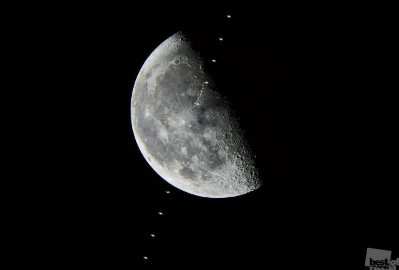 Транзит Международной космической станции по диску Луны