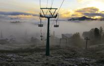 шерегеш первый снег. утро