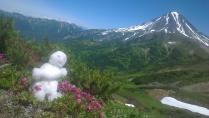 Снеговик Бузя и Вилючинский вулкан.