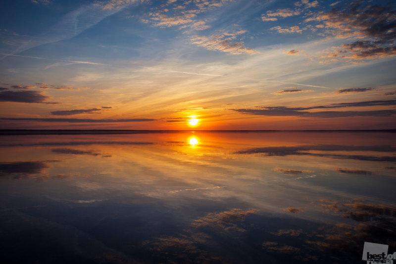 Закат на Плещеевом озере