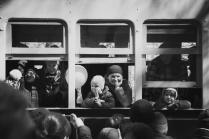 Первые пассажиры старого трамвая