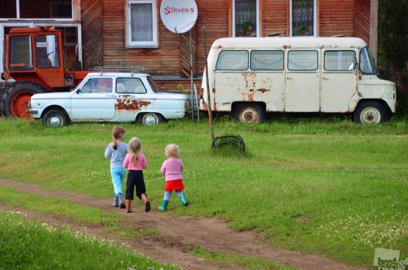Летом в деревне.
