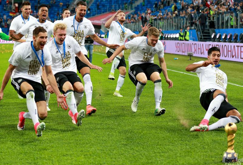 Сборная Германии отмечает победу в КК 2017