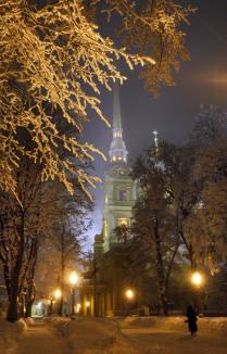 Морозный вечер в Петропавловской крепости