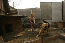 Мальчик сдерживает собаку