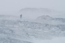 снежная буря в горах