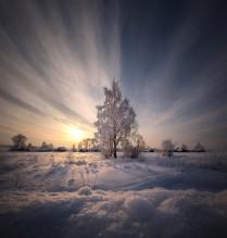 Морозный вечер в русской глубинке