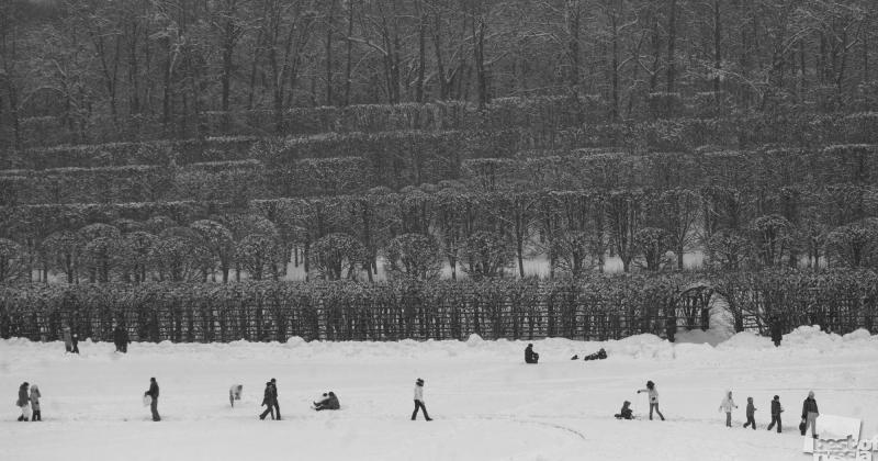 люди на снегу ,навеяно Брейгелем